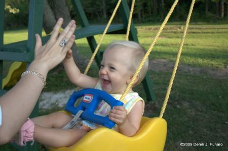 Swinging high five