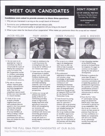 Mailer showing 2014 East Aurora Coop Board candidates