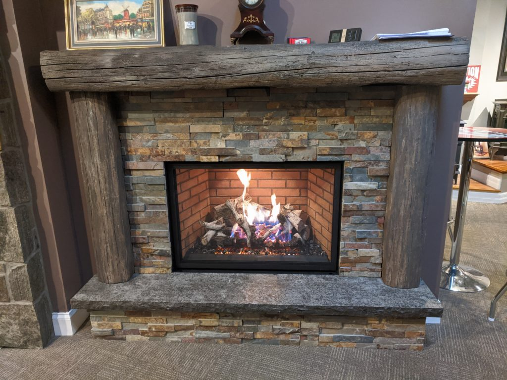 The fireplace in the showroom