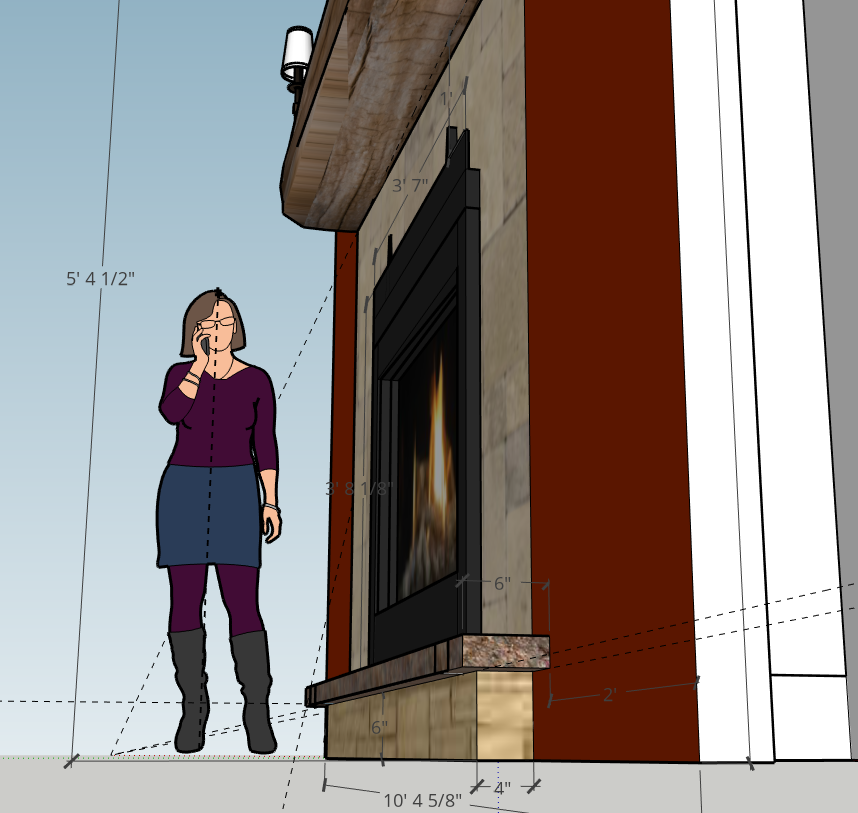 Fireplace Wall Sketchup Mockup - side view