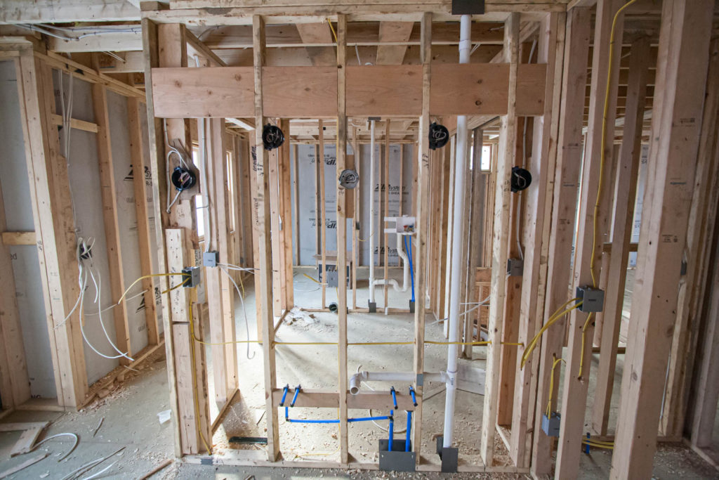 Electrical and plumbing rough-in